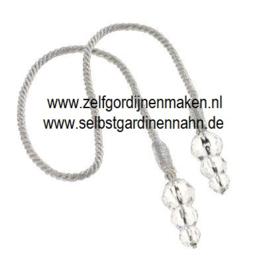 Deco kwast met 3 transparante kralen Zwart/zilver