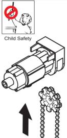 Ketting bediening Child Safe  1:4 met eindkapje wit Valencia