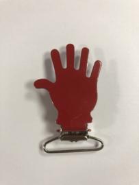 "Hosenträger Clip Rot ""Hand"" mit Daumen Rechts"