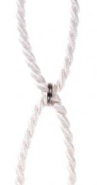 Embrassekoord met chrome ringen Creme licht