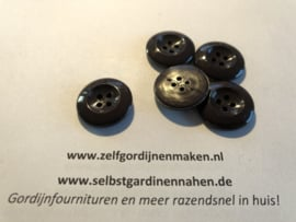14 kunststof knopen donker bruin 23mm