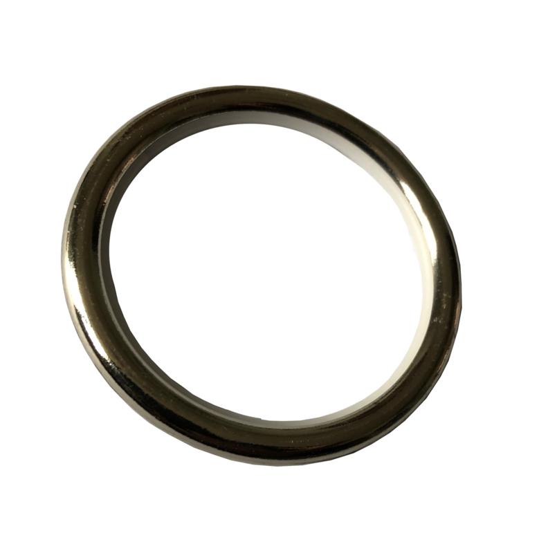 Nikkel ring, massief met nylon inleg 42/52 mm + haakje