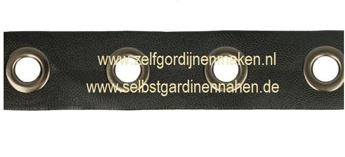 Nestelogenband 20mm Skai zwart-  ogen oud nikkel