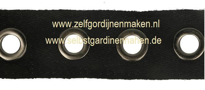 Nestelogen band Zwart katoen 25mm