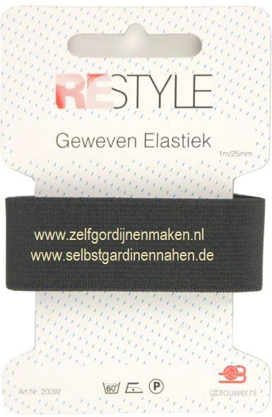 Geweven elastiek zwart / wit  25mm