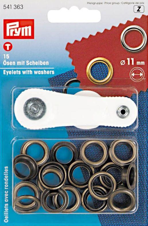 Zeil ogen set  11 mm - oud messing