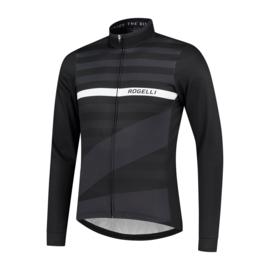 Rogelli Stripe heren fietsshirt lange mouwen - zwart/wit