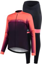 Rogelli Dream/Select dames winter fietskledingset - paars/coral/zwart