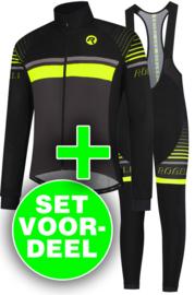 Rogelli Hero winter fietskledingset - zwart/fluor