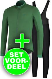Rogelli Essential/Basic winter fietskledingset - zwart/groen