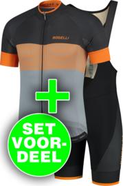 Rogelli Boost/Fuse fietsshirt korte mouwen - grijs/oranje/zwart