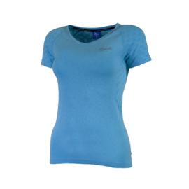 Rogelli naadloos hardloopshirt dames korte mouw - blauw