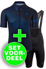 AGU Essential/Striped heren fietskledingset - blauw/zwart