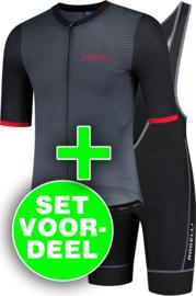Rogelli Valor/Lugo zomer fietskledingset - zwart/grijs/rood