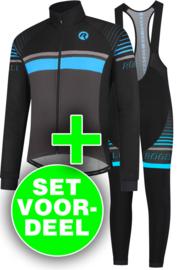 Rogelli Hero winter fietskledingset - zwart/blauw