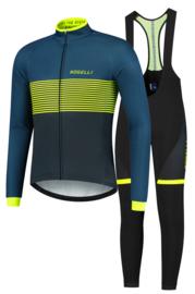 Rogelli Boost/Fuse winter fietskledingset - blauw/fluor/zwart