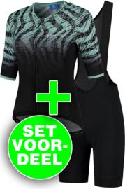 Rogelli Animal/Ultracing dames zomer fietskledingset - turquoise/zwart