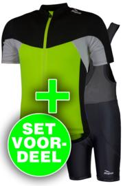 Rogelli Recco/Basic zomer fietskledingset - fluor/wit/zwart