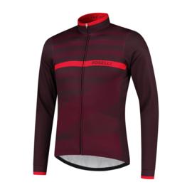 Rogelli Stripe heren fietsshirt lange mouwen - bordeaux/rood