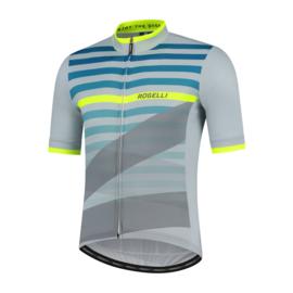 Rogelli Stripe fietsshirt korte mouwen - grijs/groen/fluor