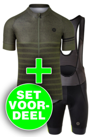 AGU Essential Prime/Melange heren fietskledingset - legergroen/zwart