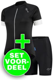 Rogelli Modesta/Basic dames zomer fietskledingset - zwart/wit