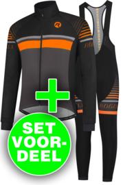 Rogelli Hero winter fietskledingset - zwart/oranje