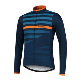 Rogelli Stripe heren fietsshirt lange mouwen - blauw/oranje