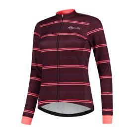 Rogelli Stripe dames winter fietsjack - bordeaux/coral