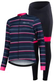 Rogelli Stripe/Select dames winter fietskledingset - blauw/roze/zwart