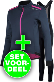 Rogelli Pesara/Liona dames winter fietskledingset - blauw/roze/zwart
