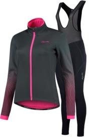 Rogelli Liona/Vivid dames winter fietsjack - grijs/roze/zwart