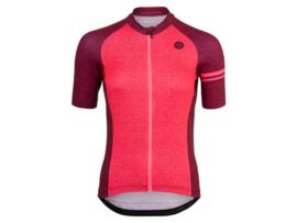 AGU Melange dames fietsshirt korte mouwen - bordeaux/neon coral