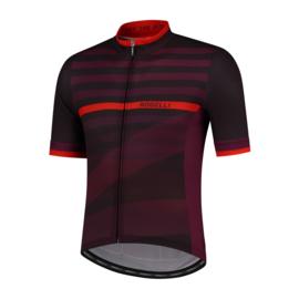 Rogelli Stripe fietsshirt korte mouwen - bordeaux
