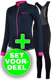 Rogelli Essential/Liona dames winter fietskledingset - blauw/roze/zwart
