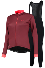 Rogelli Essential dames winter fietskledingset - bordeaux/coral/zwart