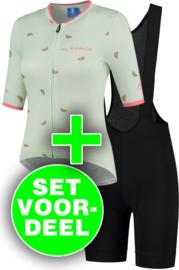 Rogelli Fruity/Ultracing dames zomer fietskledingset - mint/coral/zwart
