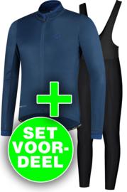 Rogelli Essential/Basic winter fietskledingset - zwart/blauw