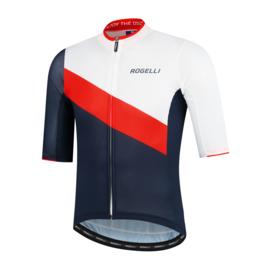 Rogelli Kai fietsshirt korte mouwen - blauw/rood/wit
