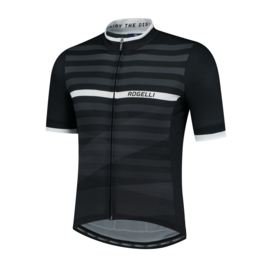 Rogelli Stripe fietsshirt korte mouwen - zwart/wit