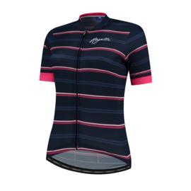 Rogelli Stripe dames fietsshirt korte mouwen - blauw/roze