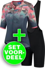 Rogelli Animal/Ultracing dames zomer fietskledingset - blauw/coral/zwart
