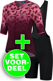 Rogelli Animal/Ultracing dames zomer fietskledingset - bordeaux/roze/zwart
