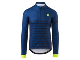 AGU Melange Stripe fietsshirt lange mouwen - blauw