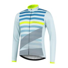 Rogelli Stripe heren fietsshirt lange mouwen - grijs/blauw/fluor
