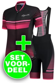 Rogelli Impress dames fietskledingset – bordeaux/roze/zwart