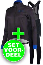 Rogelli Blossom/Liona dames winter fietskledingset - paarsblauw/zwart
