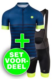 AGU Essential Prime/Melange heren fietskledingset - blauw/fluor/zwart