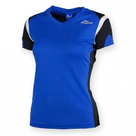Rogelli Eabel hardloopshirt korte mouw dames - blauw/zwart/wit