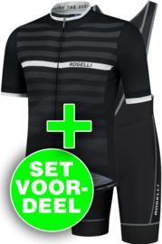 Rogelli Stripe/Lugo zomer fietskledingset - zwart/wit